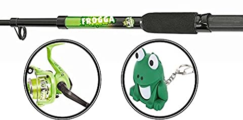 Matt Hayes Adventure (1.8m/6ft) KIDS FROGGA Fish4Fun Telescopic Rod / Matching Reel / Training Weight / Guide Book Fishing Combo - Ideal introduction set for young kids [12MH-512F] by FLADEN