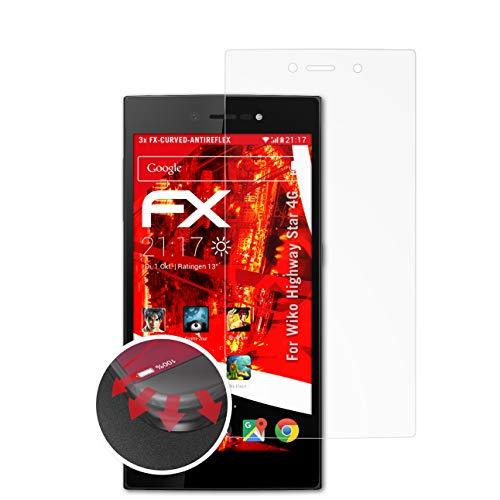 atFolix Schutzfolie passend für Wiko Highway Star 4G Folie, entspiegelnde & Flexible FX Bildschirmschutzfolie (3X)