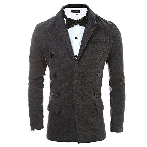 Men's double-breasted's Plaid coat Jacke einfarbig Herren Mantel, XL -