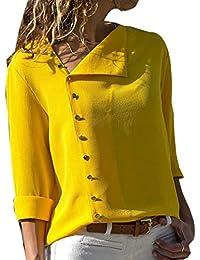 LYLXS Camisas Mujer Tallas Grandes, Moda Camiseta sólida Mujer chifón Blusas de Oficina de Manga