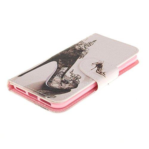 KATUMO® Ledertasche iPhone 7, iphone 8 Hülle, PU Leder Hülle Flip Case für Apple iPhone 7/8 Tasche Cover Leicht und Schlank Antiklopfmittel Schale Case, Löwe Schwarz High Heels