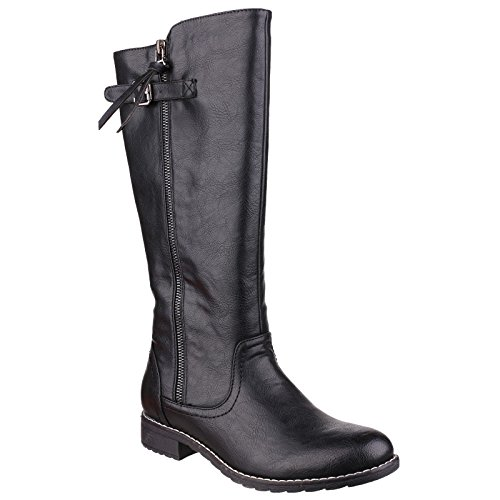 Divaz Womens/Ladies Bari Micro-fleece Trim Fashion Small Heel Boots Black