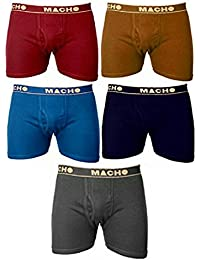 Macho Plain Trunk Underware Red, Copper Met, Blue, Navy Blue & Dark Grey Pack Of 5(100cm)
