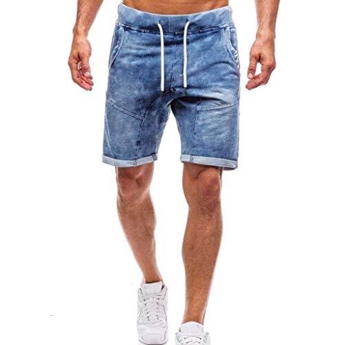 Shorts Jeansshorts Herren Sommerhosen Xjp Mode FüR MäNner Slim Einfarbig Zuhause Sporthose Mit Tasche Vintage Denim Jeans Skinny Hosen Distressed Heimhosen Sommerhosen Strandhosen (XXL, Blau) -