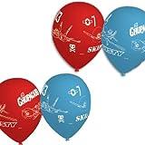 6 Ballons latex Rouges et Bleus Disney Planes - 28cm
