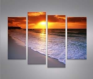 Beach 4 quadri moderni su tela pronti da appendere - Leroy merlin cuadros modernos ...