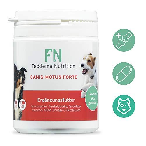 Feddema Canis-Motus Forte – Hunde-Ergänzungsfutter für Knorpel und Gelenke mit bis zu 3-mal mehr* Glucosamin, Teufelskralle, Grünlippmuschel, MSM