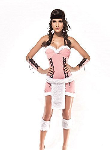 Damen 3-tlg. Pink Indianer Indianer Squaw Kostüm Kleid Outfit UK 8-10-12