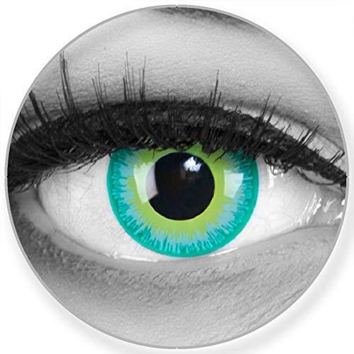 Funnylens Farbige Kontaktlinsen Green Elf in grün - weich ohne Stärke 2er Pack + gratis Behälter - 12 Monatslinsen - perfekt zu Halloween Karneval Fasching oder Fasnacht