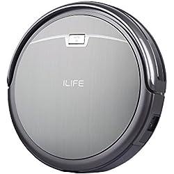 ILIFE A4s - neue Version - leiser und 7,6cm flacher Roboter-Staubsauger mit hoher Saugkraft und schicker Optik in Titan-Grau (Design wie gebürstetes Edelstahl), mit großem Staubbehälter, HEPA-Filter und Reinigungsbürste bestens geeignet für Allergiker sowie für Haushalte mit Tieren und verschiedenen Böden