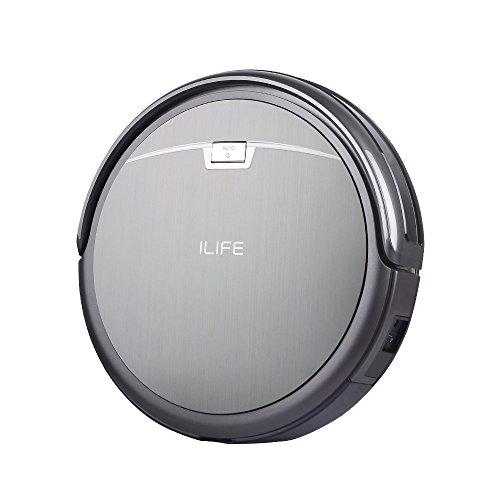 ILIFE A4 - leiser und 7,6cm flacher Roboter-Staubsauger mit hoher Saugkraft und schicker Optik in Titan-Grau (Design wie gebürstetes Edelstahl), mit großem Staubbehälter, HEPA-Filter und Reinigungsbürste bestens geeignet für Allergiker sowie für Haushalte mit Tieren und verschiedenen Böden