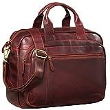 STILORD 'Joyce' Aktentasche Leder Rot Vintage Umhängetasche Groß Notebooktasche 15,6 Zoll Damen Herren Business Tasche mit Trolley Halterung