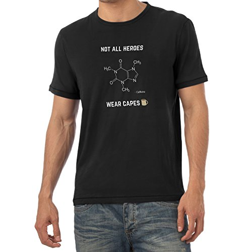 NERDO - Koffein - Not all Heroes wear Capes - Herren T-Shirt, Größe S, (Cape Superhelden Mit Shirt)