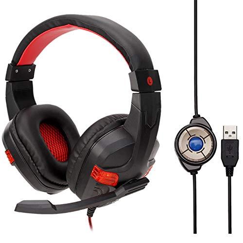 Creator2018 USB Gaming Headset, Audio Stereo Bass mit LED, Kopfhörer mit Mikrofon und Lautstärkeregler, Geeignet für PS4, PC, Laptop, Tablets