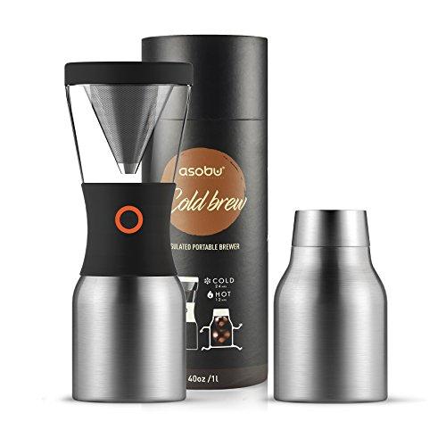 Asobu coldbrew tragbar Kaffeemaschine mit einem Vakuum Isoliert 40Oz Edelstahl 18/8Karaffe BPA-frei 40 silber -