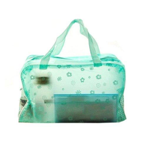 Sac Cosmétique Imperméable Transparent Imprimé Floral Poche De Bain Toilette Vert