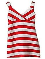 EKU Small Girl Popular All-match Stripe Splicing Sleeveless Sling Maxi Dress 5T red