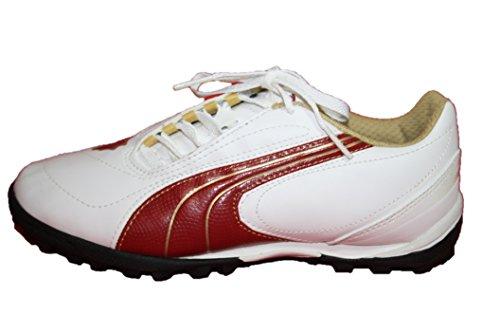 Puma Fußballschuhe, 101990 02, White-Rio Red-Team Gold, Jungen Sportschuhe White-Rio Red-Team Gold