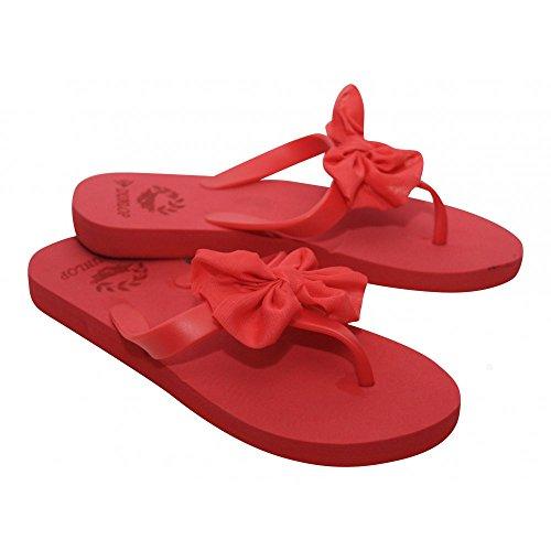 Damen Chiffon Schleife Sandalen Dunlop Damen Slipper Toe Post Zehentrenner Beach Schuhe Rot