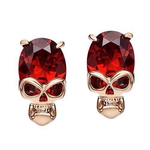 Neoglory Jewellery Rosegold Ohrstecker Totenkopf Skull mit Zirkonia rot (Und Kind Halloween Kostüme Mutter)