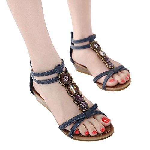 Beikoard promozione della moda sandali donna taco sandali piatti vintage donna con tacco a spillo e cerniera piatta con fibbia incrociata (marina militare 2, 40)