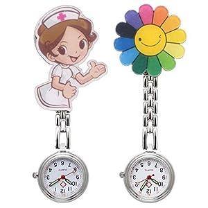 Damenuhr zum Anstecken, Hänge-Taschenuhr/Brosche, für Krankenschwestern, 2-teiliges Set