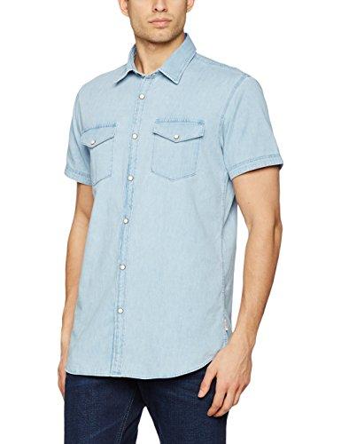 JACK & JONES Herren Jeans Hemd Jorone Shirt SS NOOS Blau (Light Blue Denim Fit:SLIM)