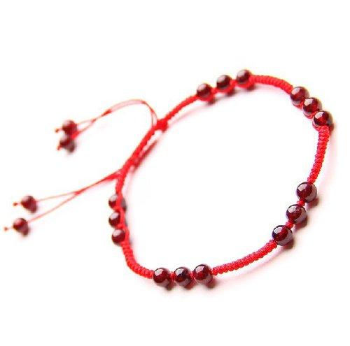 Ufingo Jewelry - Vino rosso granato Beads Red String Cavigliere Hand-maglia - Granato Genuino Bracciali