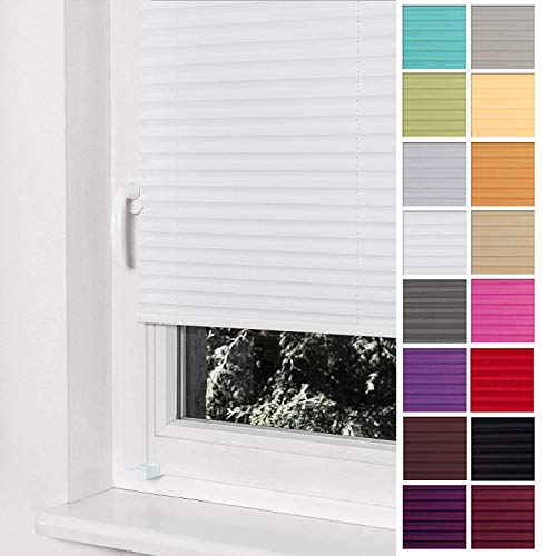 Home-Vision Premium Plissee Faltrollo ohne Bohren mit Klemmträger / -fix (Weiß, B85cm x H200cm) Blickdicht Sonnenschutz Jalousie für Fenster & Tür