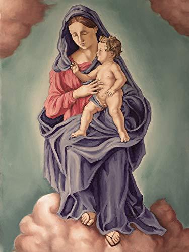 Fototapete selbstklebend Maria mit dem Kinde - Vintage - 100x130 cm - Wandtapete - Poster - Dekoration - Wandbild - Wandposter - Bild - Wandbilder - Wanddeko