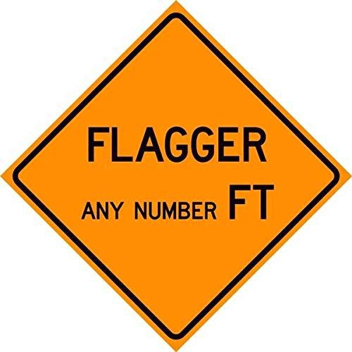 EpochSign Warnschild Flagger Ahead Custom Feet Sign Metall Blechschild 30,5 x 30,5 cm