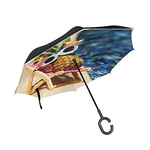 My Daily Double Couche inversé Parapluie Cars Envers Parapluie Bains de Soleil Ananas Coupe-Vent UV Proof Voyage extérieur Parapluie