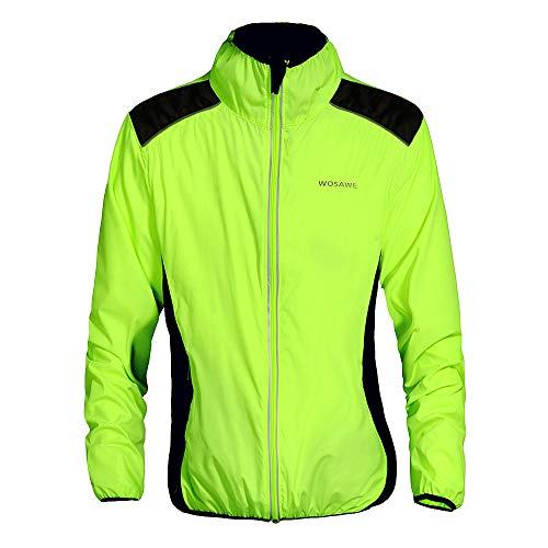 WOSAWE Fahrradjacke für Herren Damen wasserdichte Ultraleichte Sportbekleidung mit Reflektierendem für Radfahren, Laufen, Wandern, Bergsteigen XL