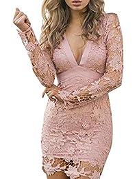 770a8e0445b2 YOGLY Spitze Rückenfrei Tief V-Ausschnitt Lange Ärmel Sexy Damen Kleid Kurz  Kleid Elegant Sommer Strandkleid Dress…