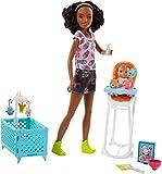 Barbie Quiero Ser niñera, muñeca con bebé, trona y cuna (Mattel...