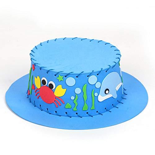 Cappello per bambini cucito a mano cappello da sole cappello da sole giocattolo educativo giocattolo materiale sacchetto blu cappello materiale pacchetto