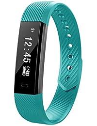 Pulsera inteligente,Carga USB ID115,Fitness Tracker con Pulsómetros,Cronómetro,Gps para running,monitor de ritmo cardiac,Notificación de mensajes,Impermeable IP67,Monitor (Color lima)