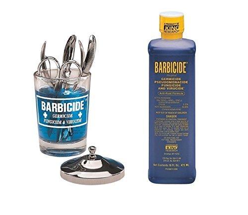 Barbicide Disinfectant Anti-Rust Formula Solution (473ml) & Manicure Table  Jar