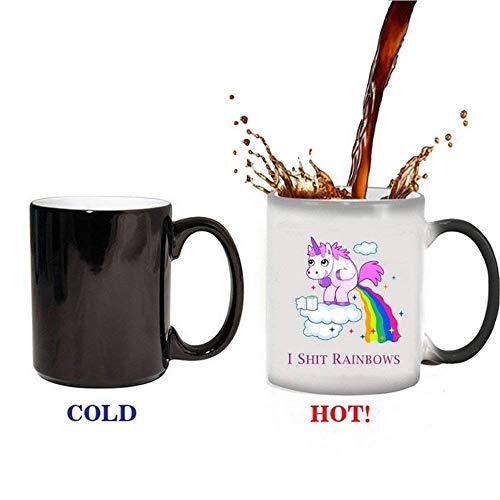 Einhorn Hitze Farbwechsel Tassen,Regenbogen Kaffeetasse Keramik Tassen-Becher/Pott für Kaffee,Überraschung Geschenk Männer Frauen (Thermische Verfärbung) -
