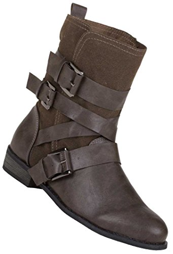 Damen Schuhe Stiefeletten Schnallen Deko Schlüpf Boots Grau