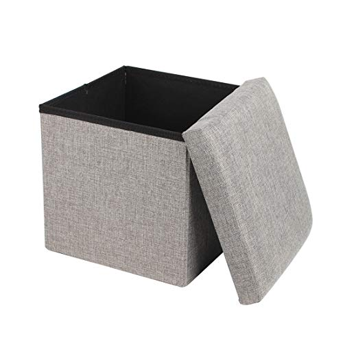 Queiting Folding Storage Ottoman Storage Box Seat Cube Single Seat Bench with Removable Lid