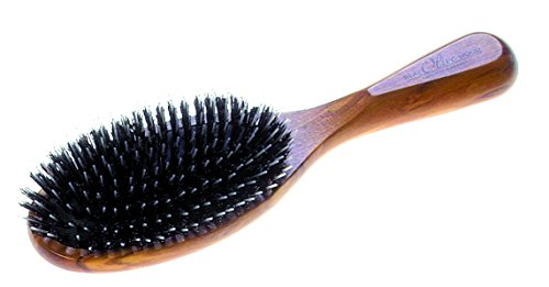 Pinceau pneumatique avec poils de sanglier pur à 100 % et épingles de coiffure complétés, protection et soin parfaits pour les cheveux, dimensions env. 215 x 62 mm, made in Germany.