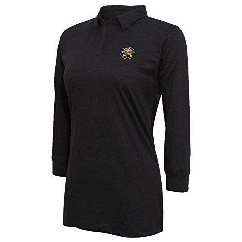 Crable Damen 3/4Sleeve Jersey Polo, Damen, Women's 3/4 Sleeve Jersey Polo, Heather Black, Large -