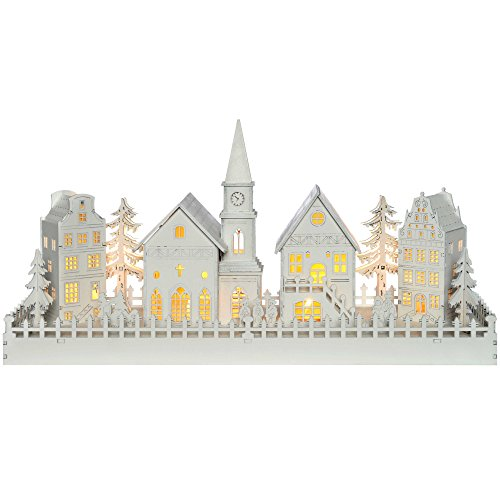 Werchristmas, decorazione natalizia: paesino con 4 casette e chiesetta, in legno, con illuminazione led, luce calda-bianca, colore: bianco