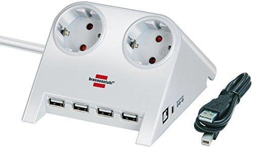 Brennenstuhl Desktop-Power-Plus, Steckdosenleiste 2-fach (Tisch-Steckdose mit 1,8m Kabel, 4-fach USB-2.0-Hub und 5V-Buchse) Farbe: weiß poliert