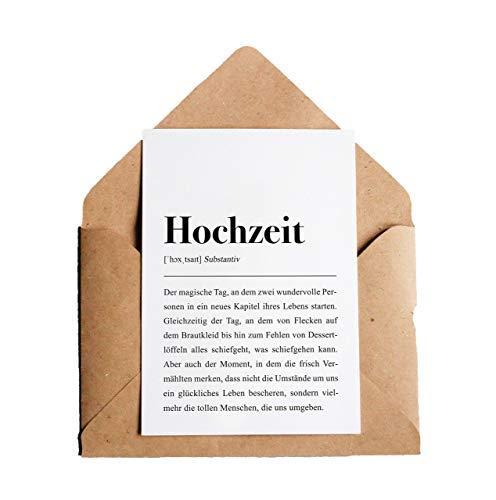 Definition Hochzeit: Grußkarte mit Umschlag (Kraftpapier)