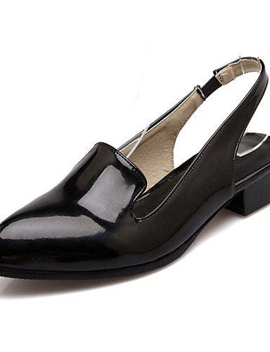 WSS 2016 Chaussures Femme-Mariage / Habillé / Décontracté / Soirée & Evénement-Noir / Blanc / Argent-Talon Bas-Bout Pointu-Talons-Matières black-us7.5 / eu38 / uk5.5 / cn38