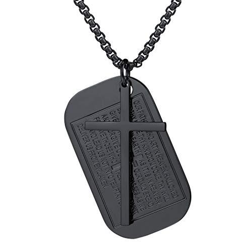 FaithHeart Schwarz Kreuz Anhänger Halskette für Herren Rechteckig Hundemarke Kapitel Amulett Jesus-Kreuz Heiliges Schmuck