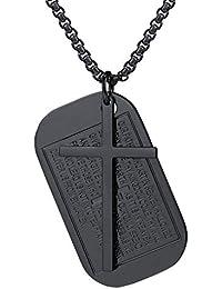 62479c6a0ee6 FaithHeart Collar Colgante de Medalla Rectangular de Inscripción con Verso  Oración y Cruz Acero Inoxidable Chapado