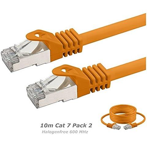 2 x 10m Cat 7 Cavo Ethernet Senza Alogeni 600 MHz Per lo Streaming / UHD Tv / IPTV / lettori Multimediali / Ricevitori Satellitari / Server Di Rete / Desktop Pc Via Cavo / Super Fast Ethernet Con l'oro Pin Connettori